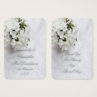 White floral bouquet wedding thank you tag business card