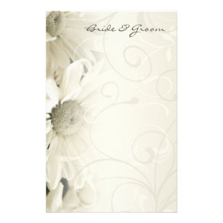 White Floral Bride and Groom Stationery