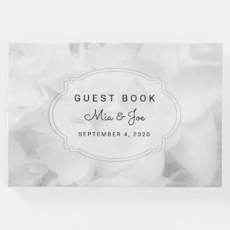 White Floral Custom Wedding Guest Book