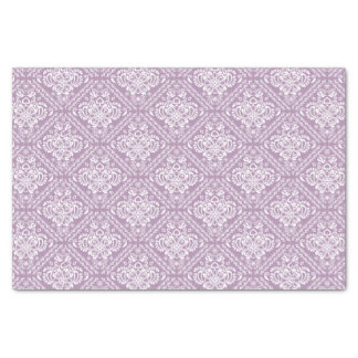 White Floral Damasks & Plum Purple Background Tissue Paper