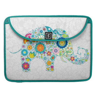 White Floral Damasks Retro Floral Elephant. Sleeve For MacBooks