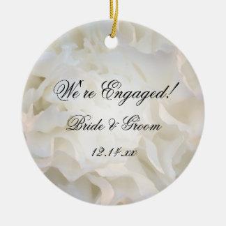 White Floral Engagement Ceramic Ornament