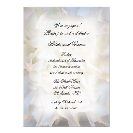 White Floral Engagement Party Invitation