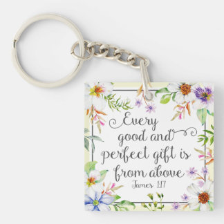 White Floral Every Good and Perfect Gift Key Ring