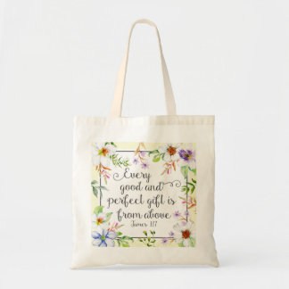 White Floral Every Good and Perfect Gift Tote Bag