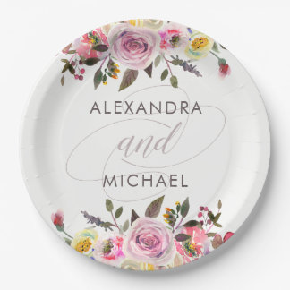 White Floral Fantasy | Modern Watercolor Wedding Paper Plate