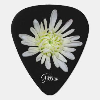 White Floral Guitar Pick