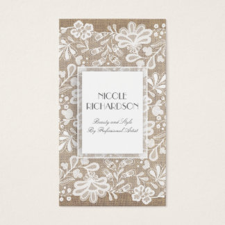 White Floral Lace and Burlap Elegant Business Card