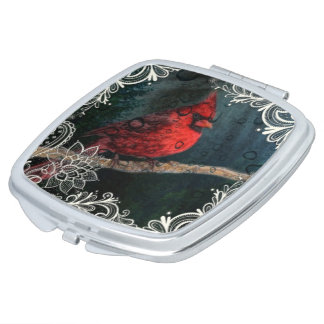 White floral lace Primitive Christmas Red Cardinal Compact Mirrors