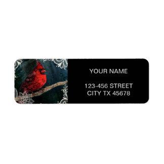 White floral lace Primitive Christmas Red Cardinal Return Address Label