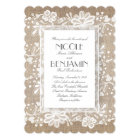 White Floral Lace Rustic Wedding Card