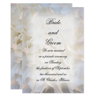 White Floral Marriage / Elopement Announcement