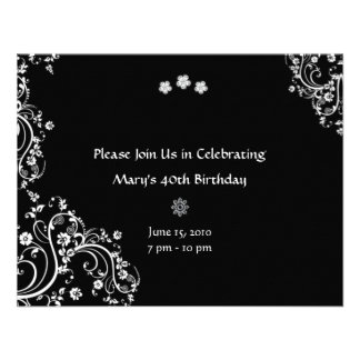 White Floral on Black Background Invitations