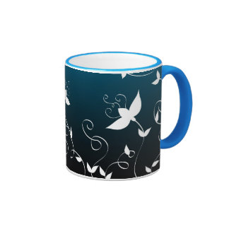White floral on blue coffee mugs