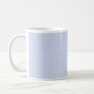 White floral on light violet texture coffee mug