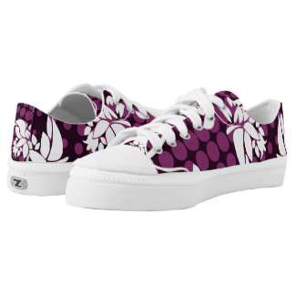 White Floral on Purple and Black Halftone Printed Shoes