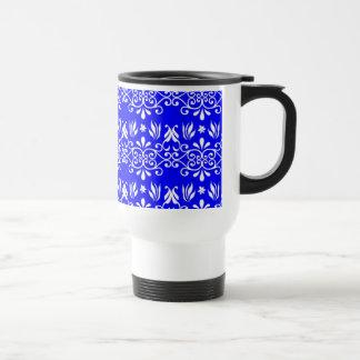 White Floral Pattern on Blue Coffee Mug