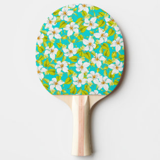 White Floral Ping Pong Paddle