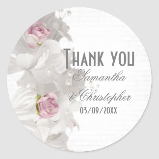 White floral pink rose wedding thank you classic round sticker