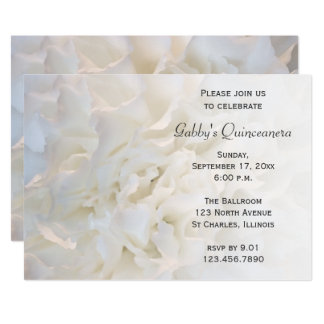 White Floral Quinceanera Invitation