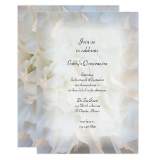 White Floral Quinceañera Party Invitation