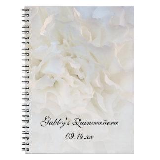 White Floral Quinceañera Spiral Notebook