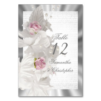 White floral rose wedding table number