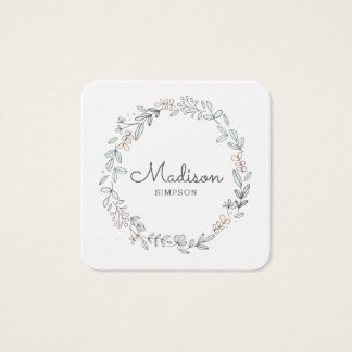 White Floral Square Business Card