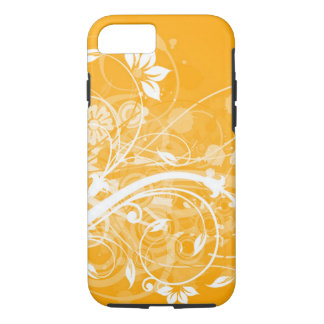 white floral swirls on yellow background iPhone 7 case