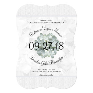 White Floral Typography Wedding Card