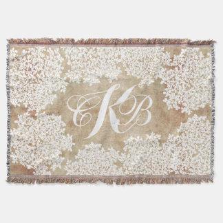 White Floral Vintage Throw Blanket
