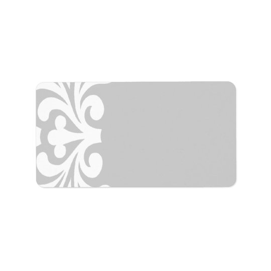 White Flourish Silver Blank Address Labels