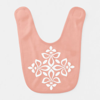 White Flourish Tile on Sweet Spring Pink Bib