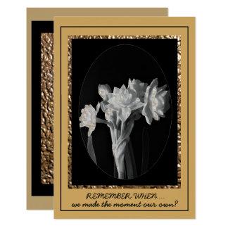 White Flower accent Black Gold Card