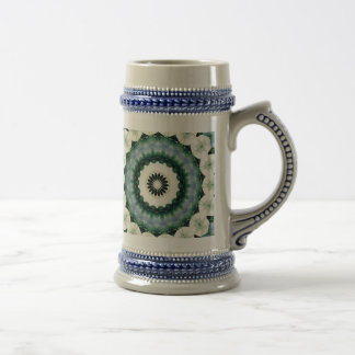 White Flower and Cerulean Blue Mandala Beer Stein