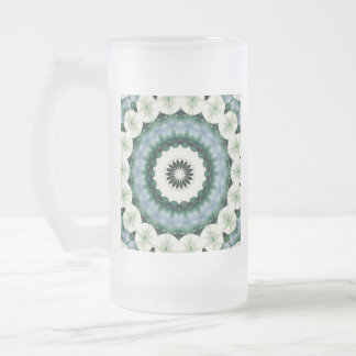 White Flower and Cerulean Blue Mandala Frosted Glass Beer Mug