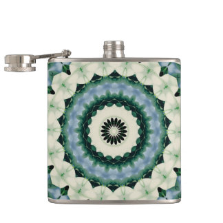 White Flower and Cerulean Blue Mandala Hip Flask
