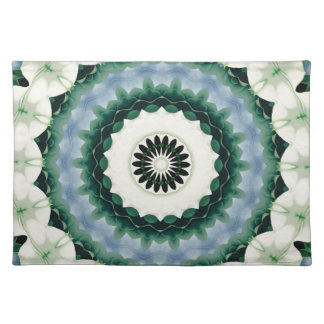 White Flower and Cerulean Blue Mandala Placemat