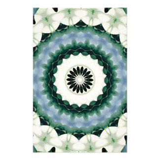 White Flower and Cerulean Blue Mandala Stationery