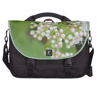 White Flower And Green Leaf Computer Bag