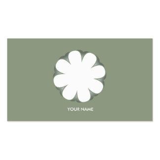 WHITE FLOWER BUSINESS CARD MOSSGREEN