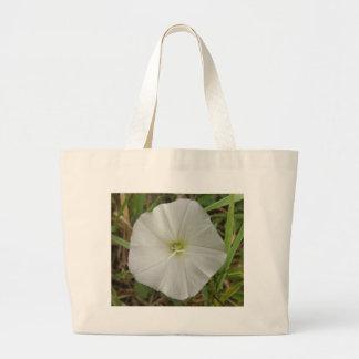 White flower canvas bag