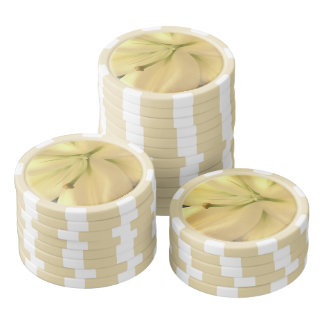 White Flower Clay Poker Chips
