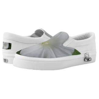 White Flower Custom Zipz Slip On Shoes,Men & Women Printed Shoes
