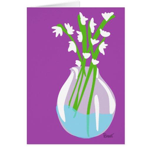 White Flower & Glass Vase Blank Card