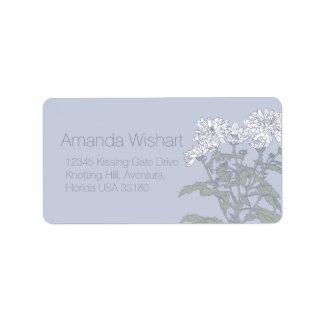 White flower grey wedding reply address labels