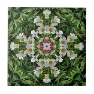 white flower kaleidoscope pattern tile