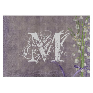 White Flower Lace Monogram Glass Cutting Board