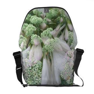 White Flower Messenger Bag