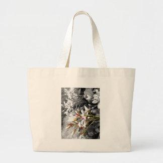 White Flower on Black and White Background Jumbo Tote Bag